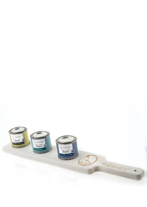 Trio Bougies Arôma + planche en bois (blanche)